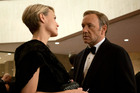 Kevin Spacey as Democrat Frank Underwood and Robin Wright as Claire Underwood in the television series House of Cards. Wright has revealed the pair now receive the same salary.