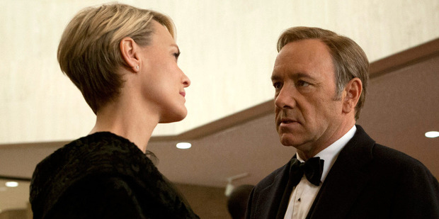 Loading Kevin Spacey as Democrat Frank Underwood and Robin Wright as Claire Underwood in the television series House of Cards. Wright has revealed the pair now receive the same salary.