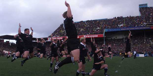 The All Blacks perform a haka in front of the Athletic Park crowd prior to their match against France in 1999