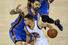 Stephen Curry #30 of the Golden State Warriors drives with the ball against Steven Adams #12 of the Oklahoma City Thunder during game one of the NBA Western Conference Final. Photo / Getty Images.