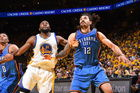 Steven Adams (R) has shone in NBA playoff wins, most recently this week against defending champions Golden State. Photo / Getty