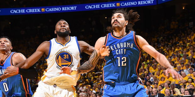 Loading Steven Adams (R) has shone in NBA playoff wins, most recently this week against defending champions Golden State. Photo / Getty