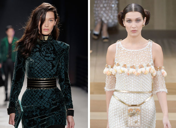 Bella walks for Balmain (left) and Chanel. Photos / Getty