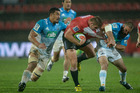 The Lions set the tone for their victory over the Blues in Johannesburg this morning with a try in the first minute and the points kept pouring in, along with the heavy rain, at Ellis Park.