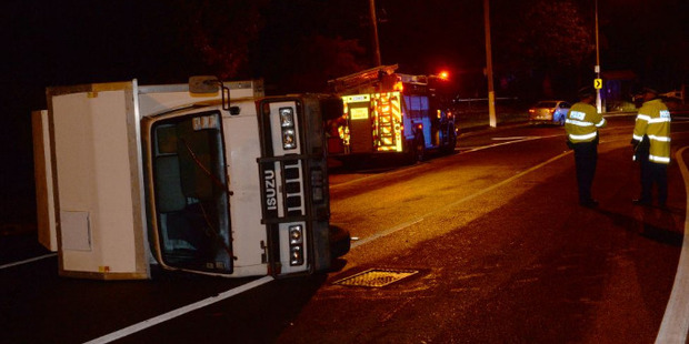 The truck lost control near the Southern Cemetery. Photo / Otago Daily Times / Linda Robertson