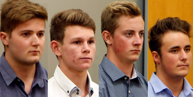 Matthew McKenzie, 19, Dylan Christie, 19, Ethan Daniel Poole, 19, and Robert Samuel Hales, 18, appeared in court on two charges each of burglary. Photo / John Stone