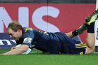 Matt Faddes of the Highlanders scores one of his two tries against the Crusaders in round 12 of Super Rugby. Photo / Getty