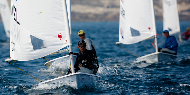 Sam Meech in action during Day 1 of the 2014 ISAF Sailing World Championships. Photo / Getty Images