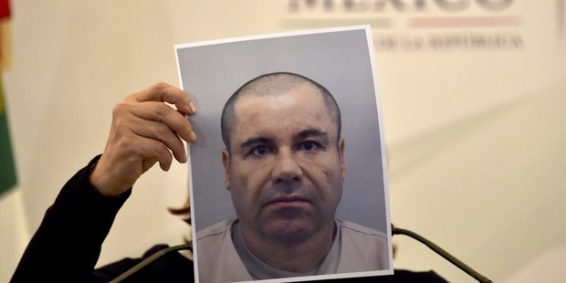 "Mexico's Attorney General Arely Gomez shows a picture of Mexican drug kingpin Joaquin ""El Chapo"" Guzman during a press conference held. Photo / Getty"