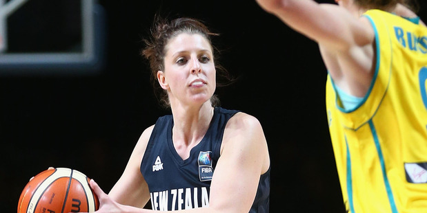 Lisa Wallbutton of the Tall Ferns looks to pass during game one against the Australian. Photo / Getty Images