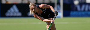 Anita Punt hits the ball during a match between New Zealand and Great Britain. Photo / Getty Images