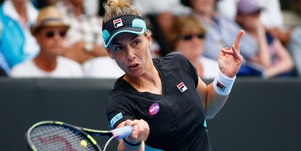 Marina Erakovic plays a forehand in her singles match against Alexandra Dulgheru. Photo / Getty Images