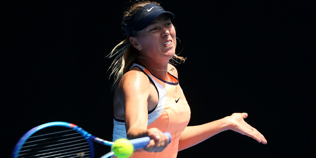 Maria Sharapova plays a forehand during the 2016 Australian Open. Photo / Getty Images