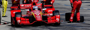 Scott Dixon leaves the pits during the IndyCar Series Toyota Grand Prix of Long Beach. Photo / Getty Images