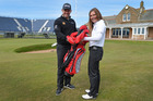Lee Westwood with Jackie Davidson Scottish Golf Head of Development at Royal Troon. Photo / Getty Images