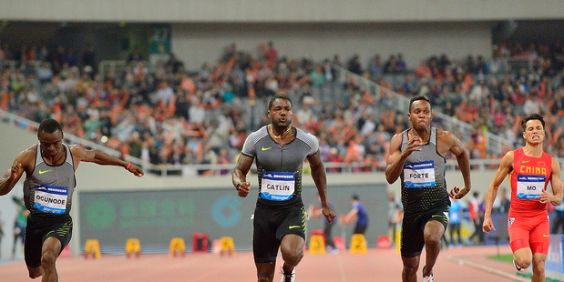 Justin Gatlin in action in the men's 100m during the 2016 Shanghai Diamond League. Photo / Getty Images