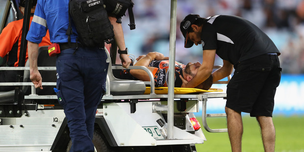 Farah was knocked out after he collided with the hip of Josh Reynolds as the Bulldogs playmaker put in a kick during the first half in front of 20,936 at ANZ Stadium. Photo / Getty Images