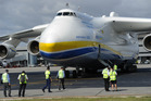 The world's largest aircraft, the Ukraine-built Antonov An-225 Mriya, is positioned after touching down at Perth Airport. Photo / Getty Images