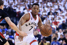 Kyle Lowry dribbles the ball against the Miami Heat in Game 7. Photo / Getty Images