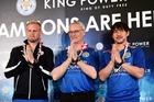 Kasper Schmeichel, Claudio Ranieri and Shinji Okazaki during their week-long visit to Thailand. Photo / Getty Images