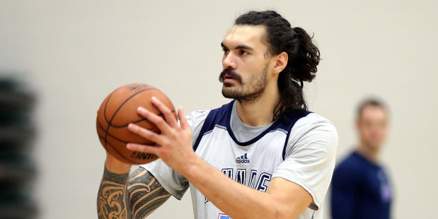 Loading Steven Adams practices during their off day before Game Two against the Warriors. Photo / Getty Images