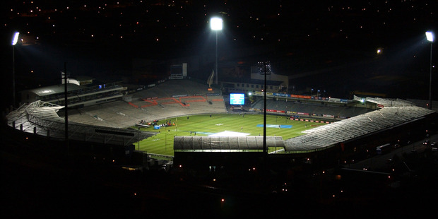 A floodlit Carisbrook the night prior to the All Blacks vs Springboks Tri-Nations test match played there in 2003. Photo / Getty Images