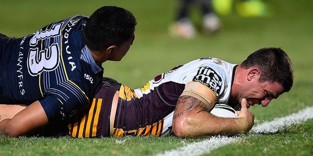 Brisbane backrower Matt Gillett scored two tries in a loss to the North Queensland Cowboys. Photo / Getty