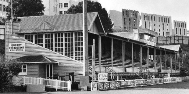 The old Railway Grandstand at Carlaw Park in 1985. Photo / NZ Herald