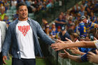 Jarryd Hayne high fives the crowd during the round one NRL match between the Parramatta Eels and the Brisbane Broncos. Photo / Getty