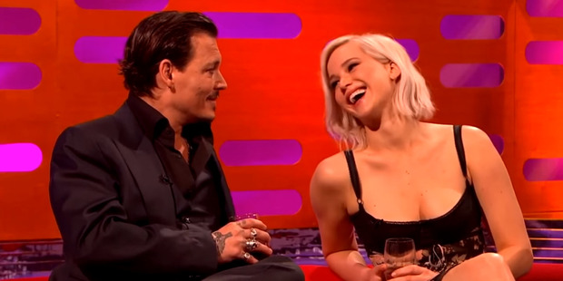 Johnny Depp and Jennifer Lawrence on The Graham Norton Show.