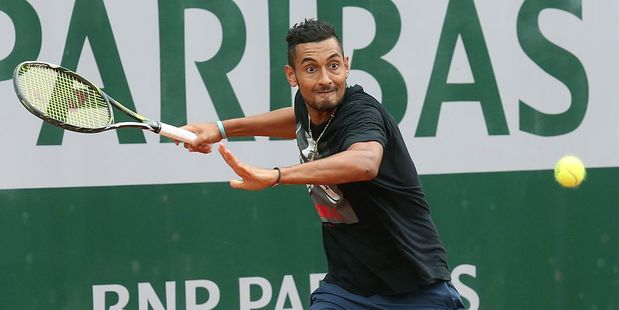 Australian Nick Kyrgios practices ahead of the 2016 French Open at Roland-Garros stadium. Photo / Getty Images