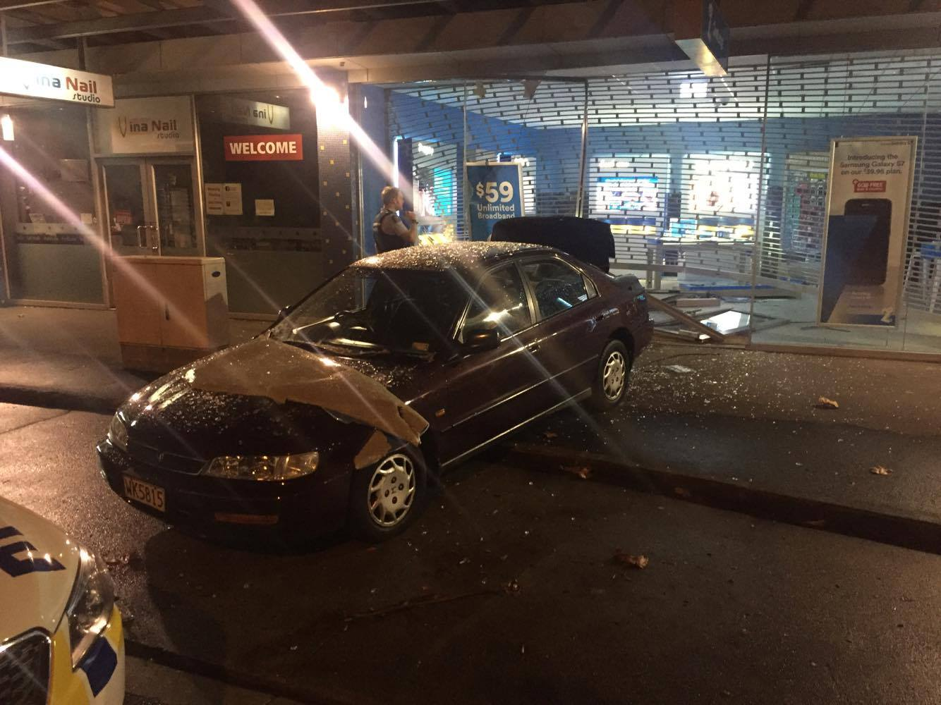 It is believed the three men broke into the store using a stolen car and escaped on foot. Photo / Supplied