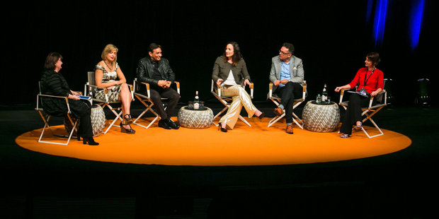 Loading Fran O'Sullivan, Savannah Peterson, Rohit Shukla, Claudia Batten, Andy Symons and Rebecca Gill, discuss innovation in New Zealand at this morning's PwC Herald Talks. Photo / Shaun Ross