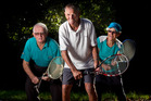 Rotorua Tennis Club's Alan Petley (centre), Ken Podmore and Greta Anema are still going strong. Photo / Stephen Parker