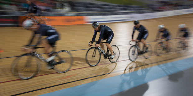 New Zealand track cyclists during a training session at the Avantidrome.