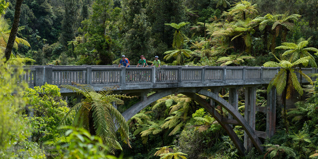 The 'Bridge to Nowhere' stands as a reminder of the region's colourful history. Photo / Tourism New Zealand