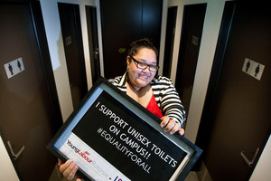 Young Labour Rotorua organiser Amy Uluave is thrilled with the decision to have more unisex toilets on campus.