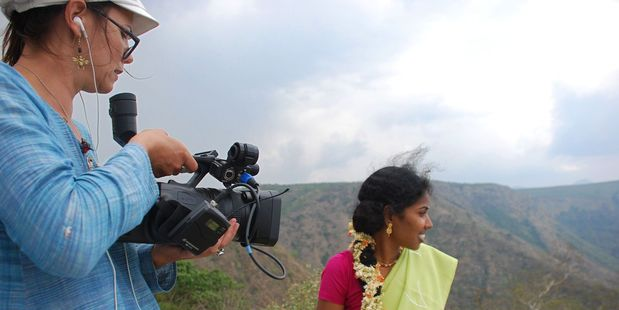 Director Elisa Paloschi filming her documentary Driving with Selvi.