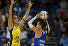 Northern Mystics GA Maria Tutaia, right, in action against Central Pulse GD Phoenix Karaka. Photo / Brett Phibbs
