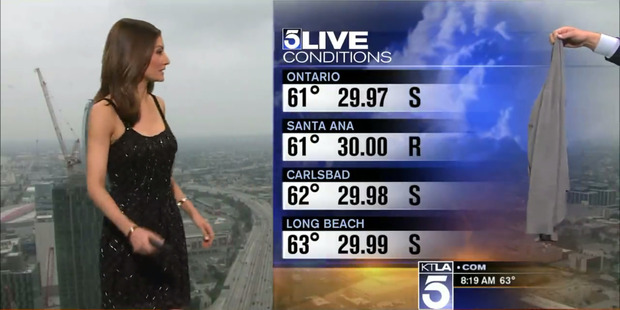 Loading Liberté Chan was forced to cover up live on air after complaints from viewers. Photo / KTLA