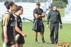 New Zealand Women's Sevens coach Sean Horan (right) at squad training at Blake Park yesterday. Photo / John Borren