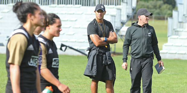 New Zealand Women's Sevens coach Sean Horan (right) at squad training at Blake Park yesterday. Photo / John Borren