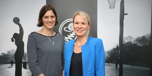 Pictured are NZ netball players association boss Steph Bond (left) and Netball NZ CEO Hilary Poole. Photo / Doug Sherring