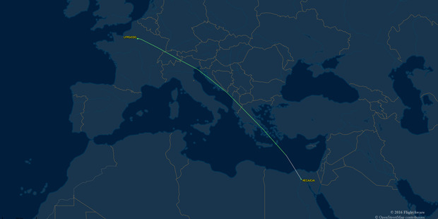 Loading Flight track for EgyptAir flight number MS804 from Charles De Gaulle airport, Paris departing 23:221 CEST due to arrive at Cairo Internaional airport, Egypt at 02:55 EET. Photo / Supplied