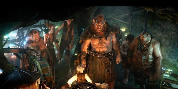 Loading Jemaine Clement (centre) as evil giant Fleshlumpeater in The BFG.