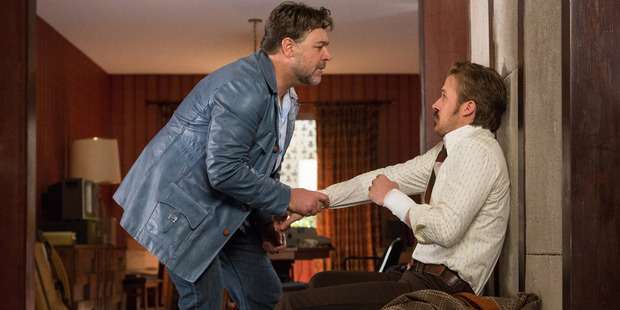 Russell Crowe and Ryan Gosling, right in a scene from The Nice Guys. Photo / AP