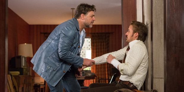 Russell Crowe and Ryan Gosling star in a scene from The Nice Guys. Photo / AP