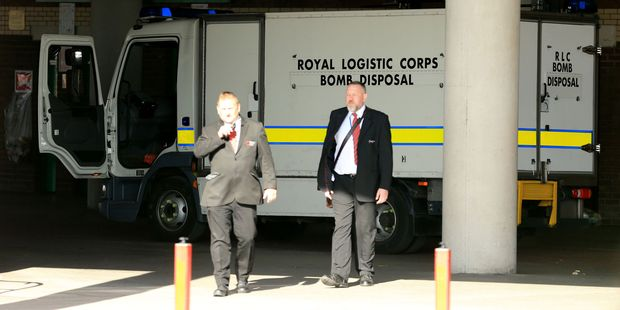 A bomb disposal truck inside Old Trafford after the English Premier League match was abandoned. Photo / AP