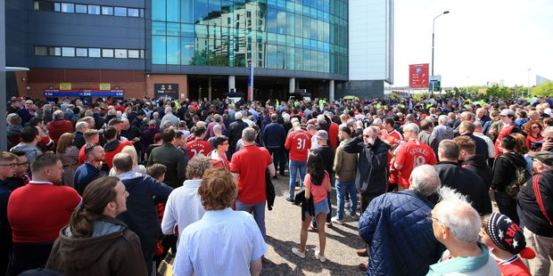 Fans were ordered out of Old Trafford 20 minutes before the game between Manchester United and Bournemouth. Photo / AP