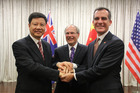 The mayors of Guangzhou, Auckland and Los Angeles, from left Chen Jianhua, Len Brown and Eric Garcetti.